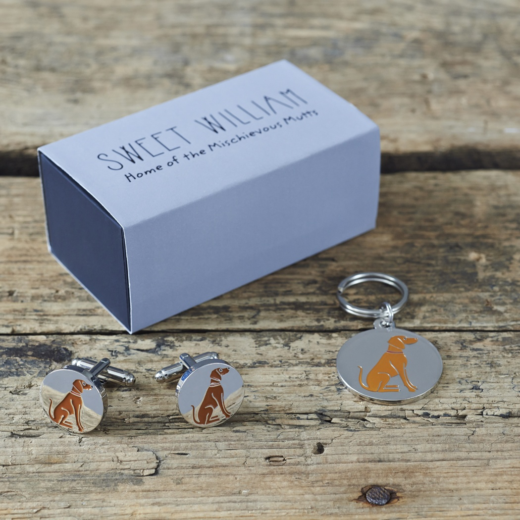 Vizsla Cufflinks and Dog Tag Set