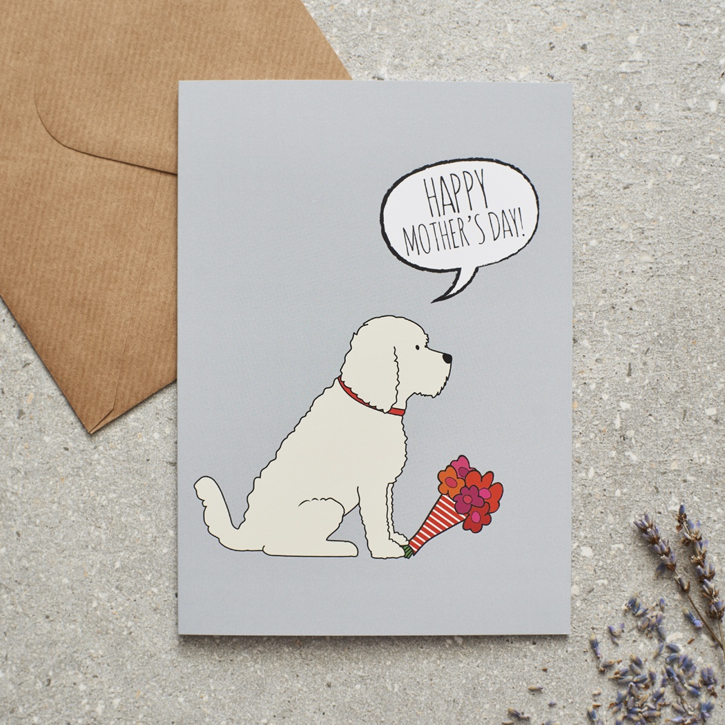 APRICOT COCKAPOO / LABRADOODLE MOTHER'S DAY CARD
