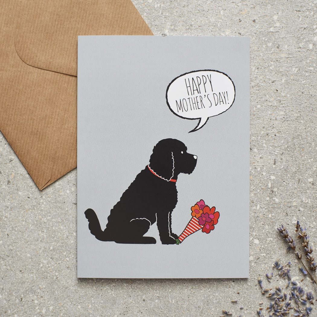 BLACK COCKAPOO / LABRADOODLE MOTHER'S DAY CARD